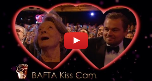 Youtube post by BBC: Leonardo DiCaprio and Dame Maggie Smith on Kiss Cam - The British Academy Film Awards 2016 - BBC One