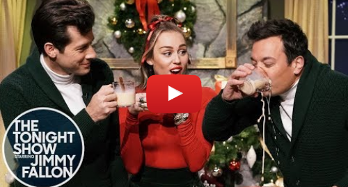 """Youtube post by The Tonight Show Starring Jimmy Fallon: Miley Cyrus Updates """"Santa Baby"""" for 2018 with Mark Ronson and Jimmy Fallon"""