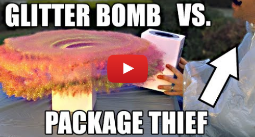 Youtube post by Mark Rober: Package Thief vs. Glitter Bomb Trap YouTuber's glitter bomb tricks parcel thieves YouTuber's glitter bomb tricks parcel thieves technology 46604625