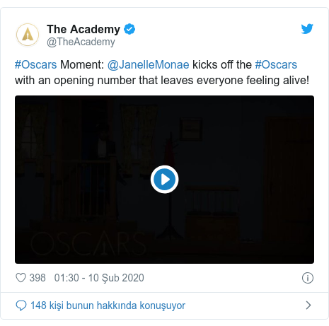 @TheAcademy tarafından yapılan Twitter paylaşımı: #Oscars Moment  @JanelleMonae kicks off the #Oscars with an opening number that leaves everyone feeling alive!
