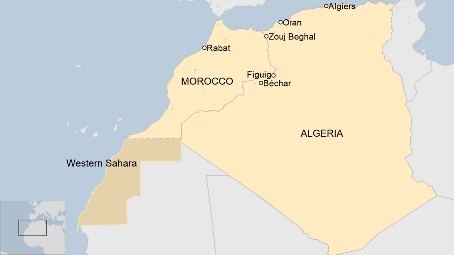 A map of Morocco and Algeira