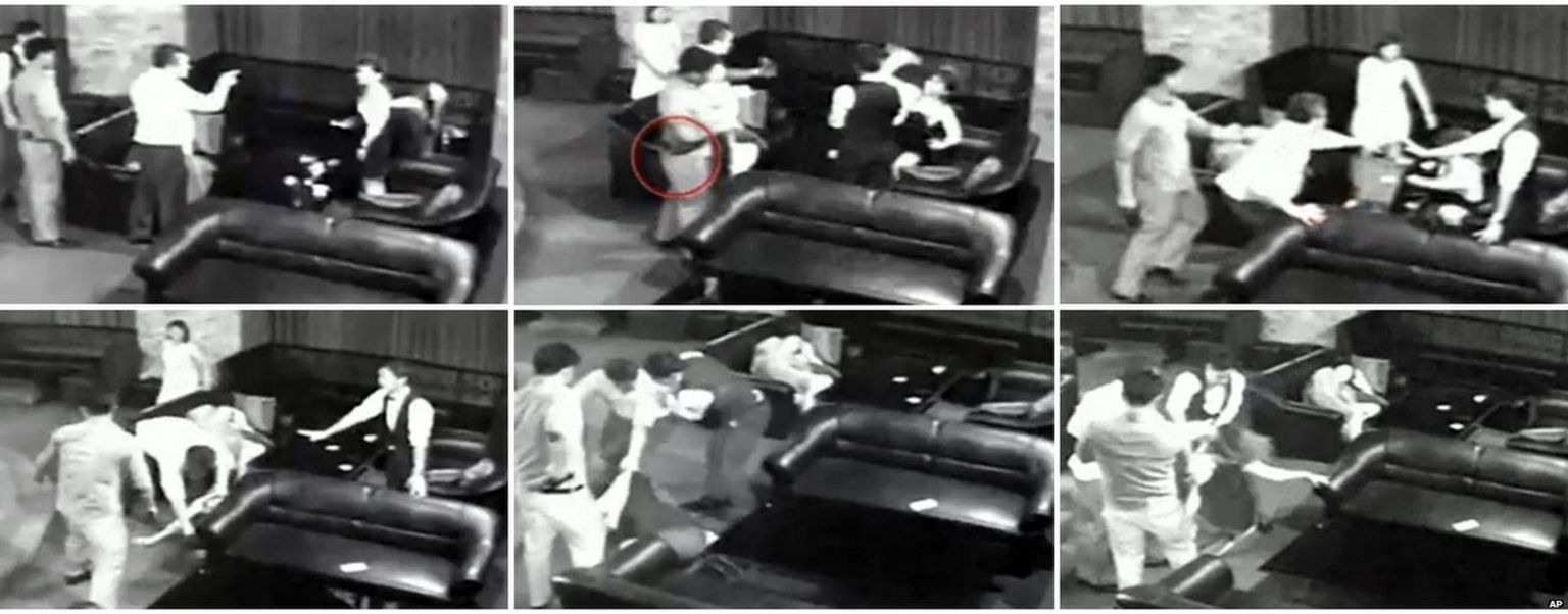 This combination image of frame grabs taken from security footage shows Cambodian property tycoon Sok Bun arguing with, and then severely beating, the well-known Cambodian actress known as Sasa at a Japanese restaurant in Phnom Penh, Cambodia, on July 2, 2015.
