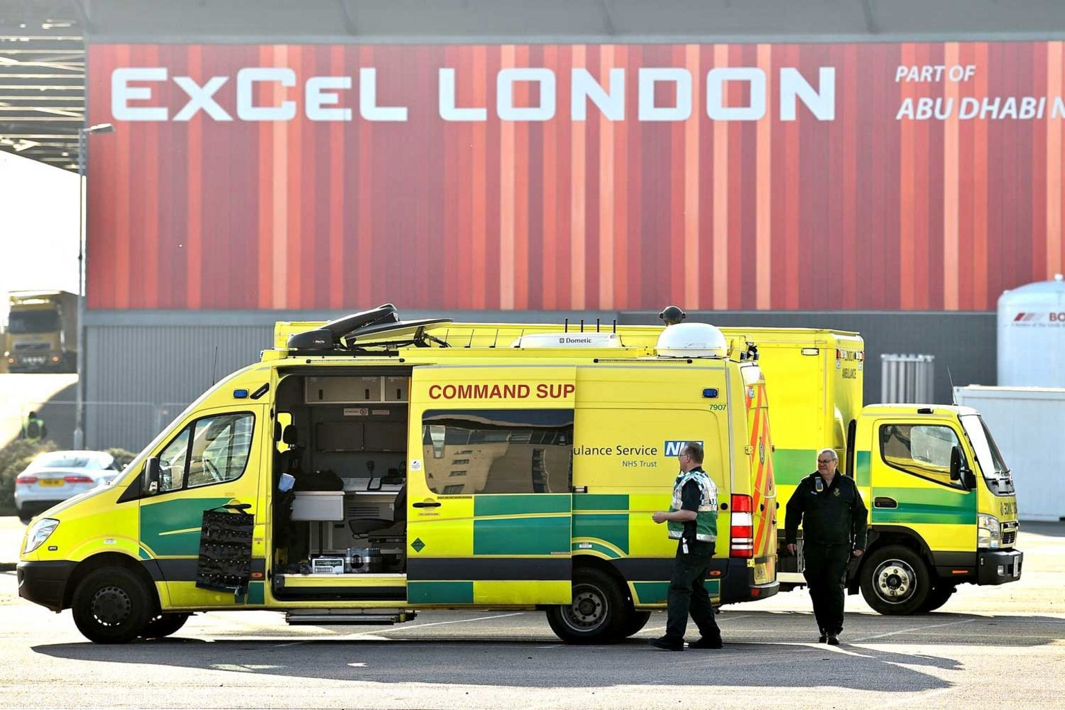 An ambulance outside the NHS Nightingale Hospital