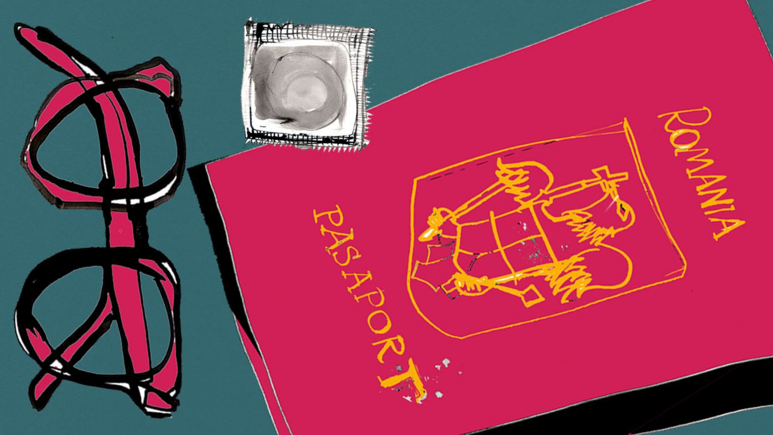 Glasses, passport, condom