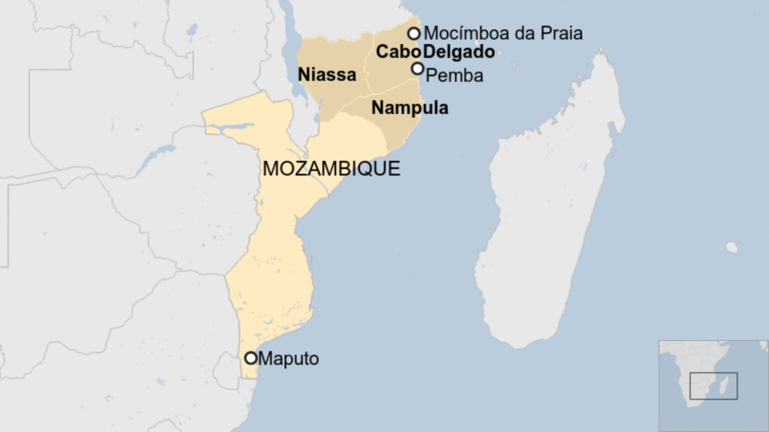 Map of Mozambique showing northern provinces