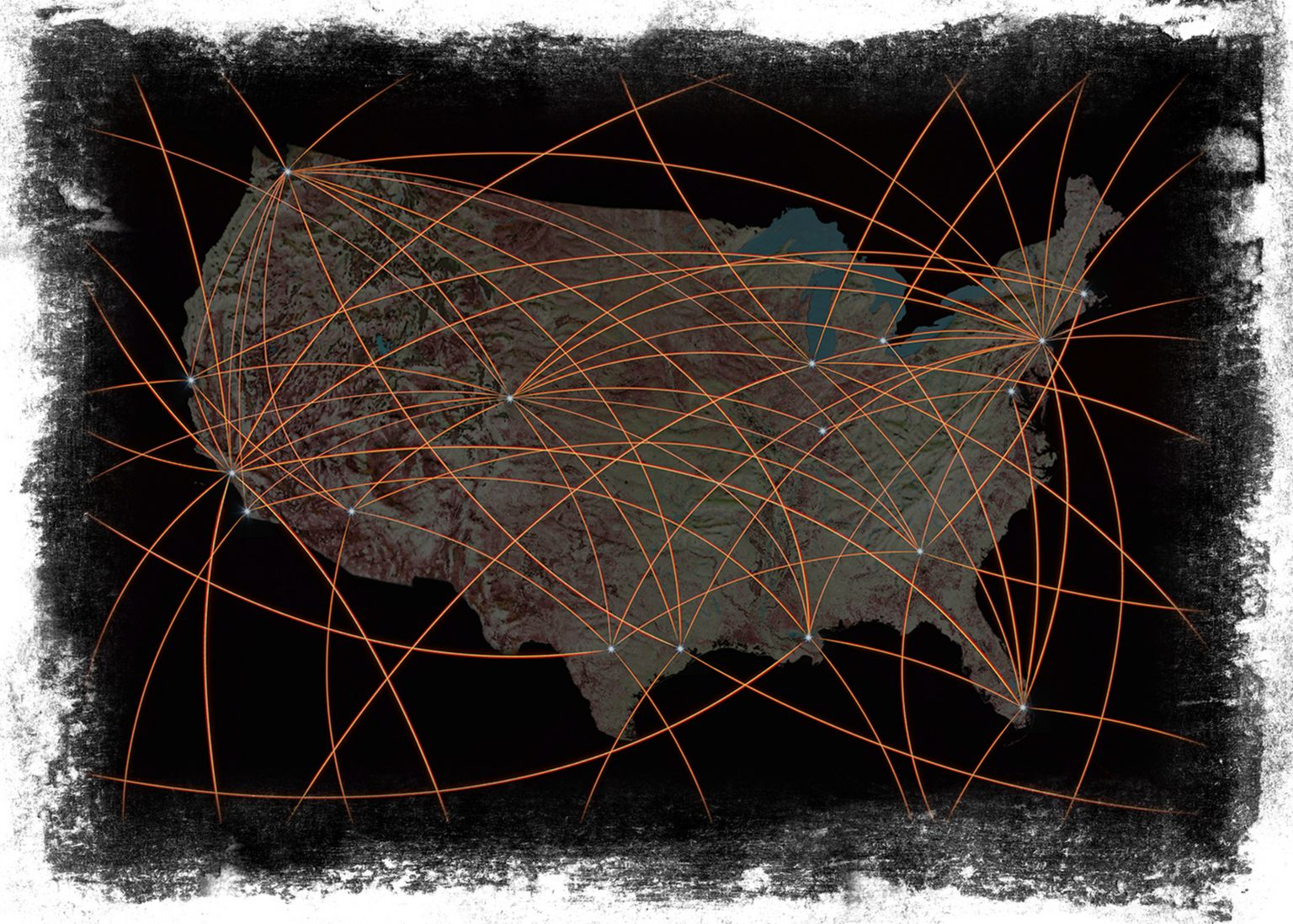 Graphic from Getty Stock images showing connections across US map