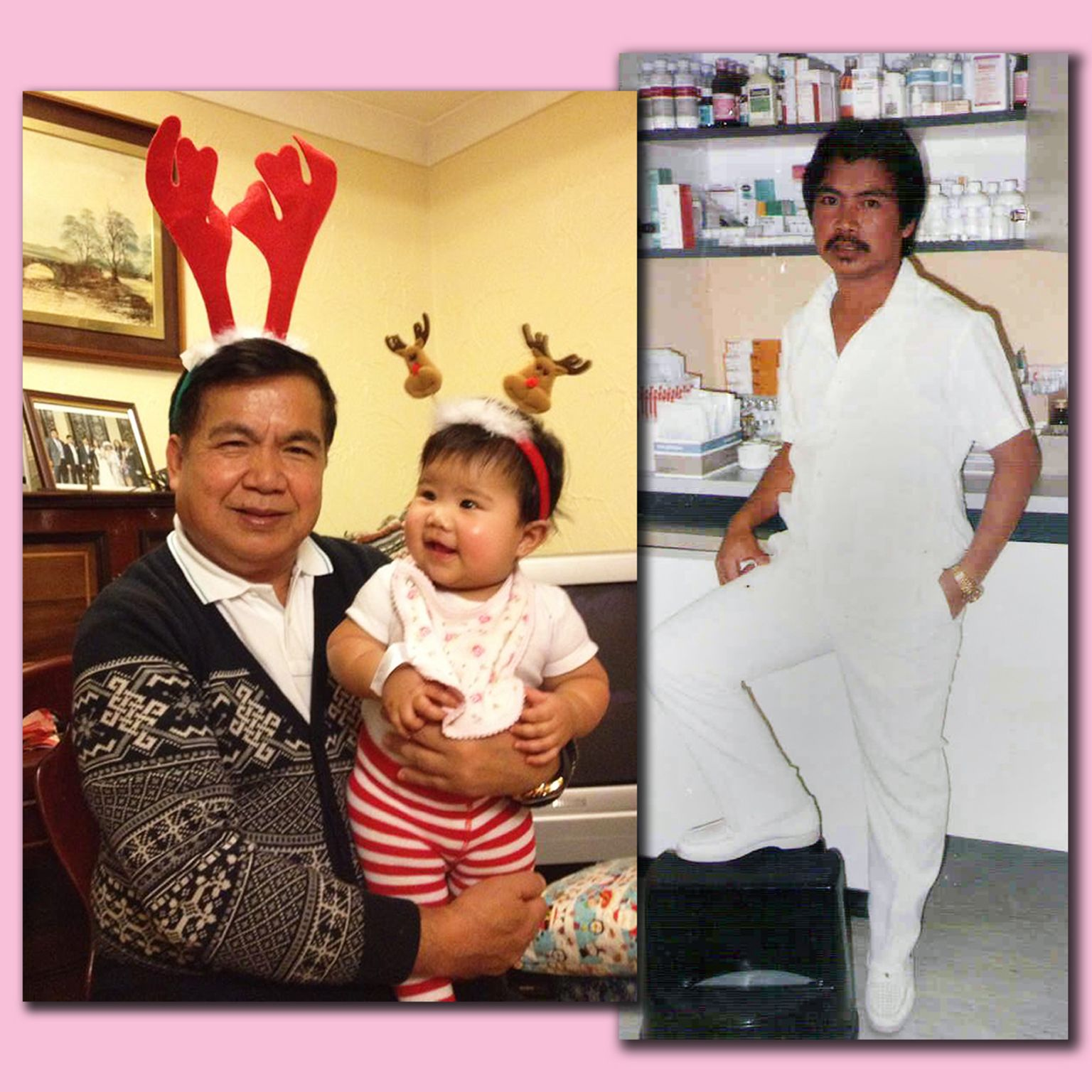 Policarpio with his granddaughter and as a younger man