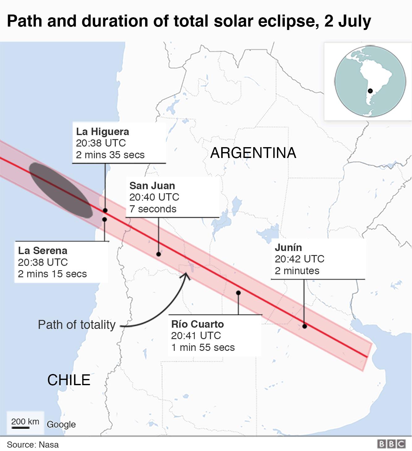 Eclipse path close-up
