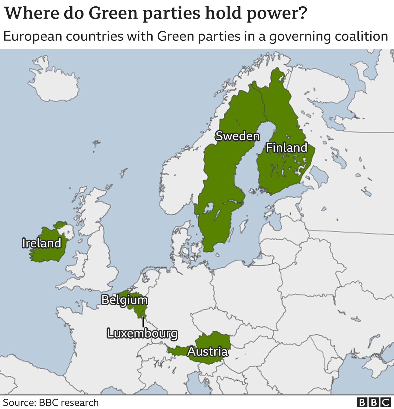 A map showing the countries where green parties hold power