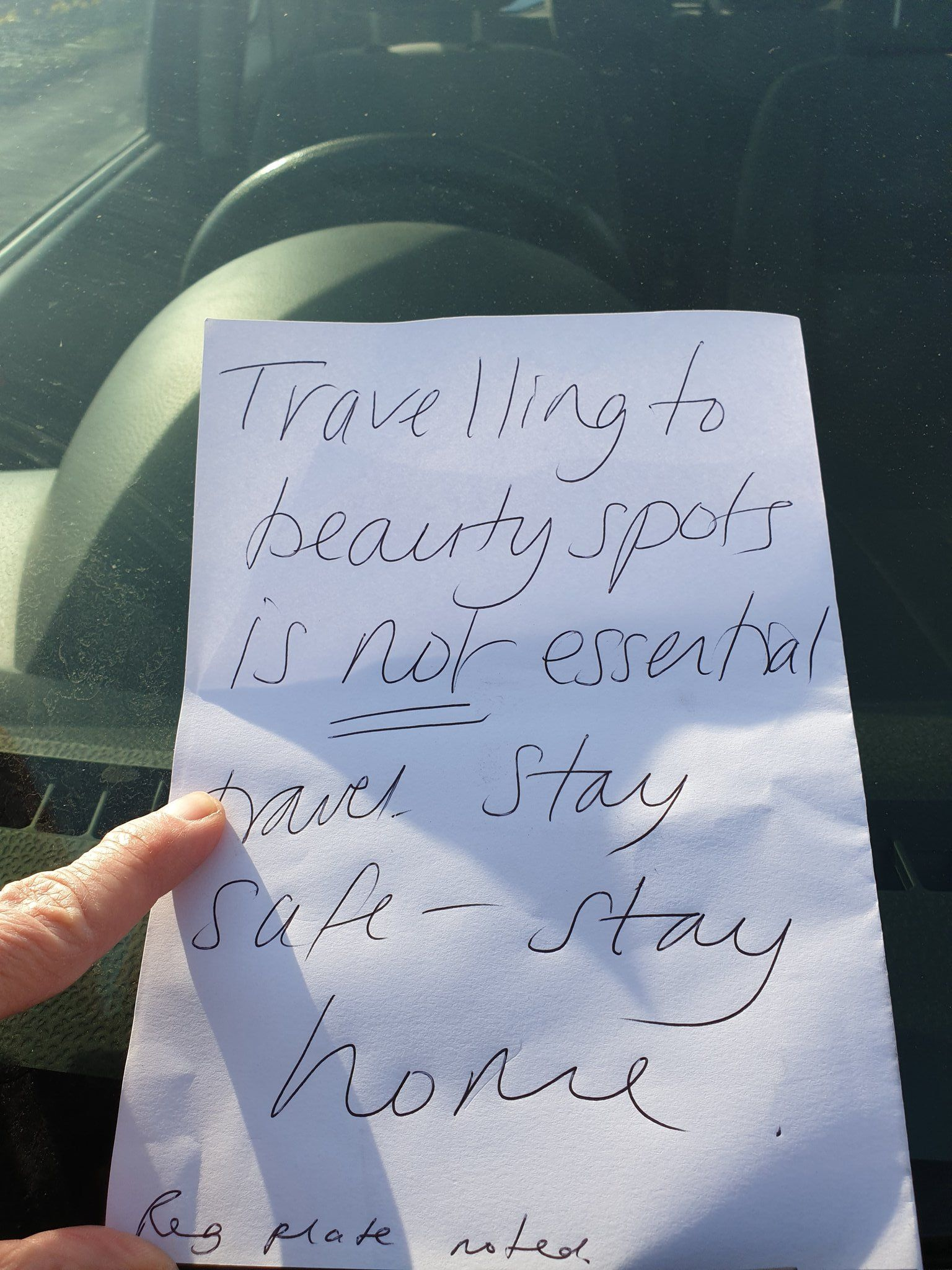 Bakewell Police issued a picture of a note left by a local on a car parked in the Peak District