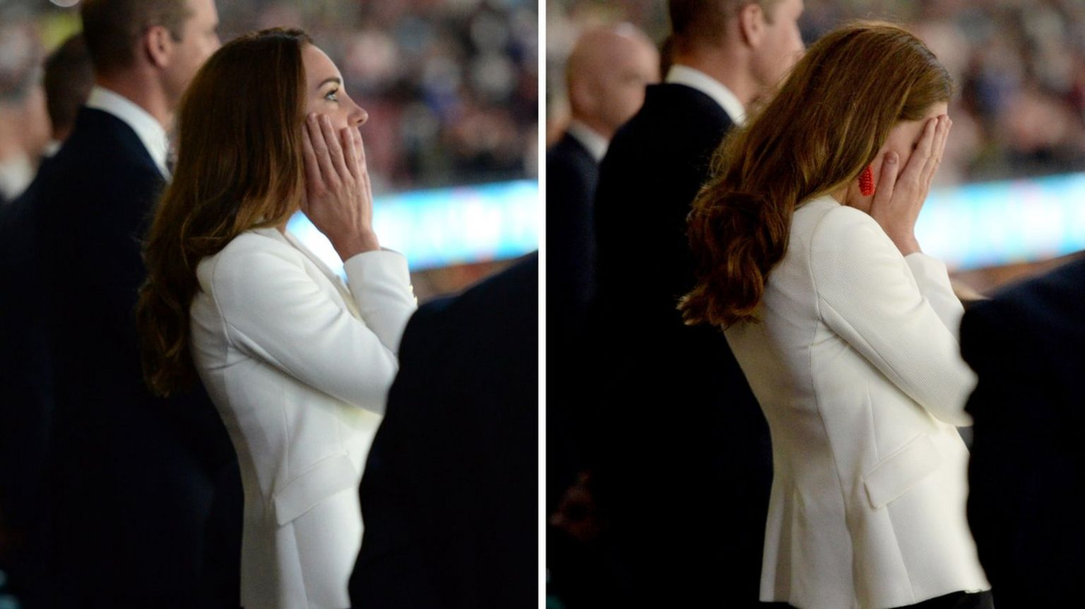 Catherine, Duchess of Cambridge, looks on in despair as England lose on penalties at Wembley