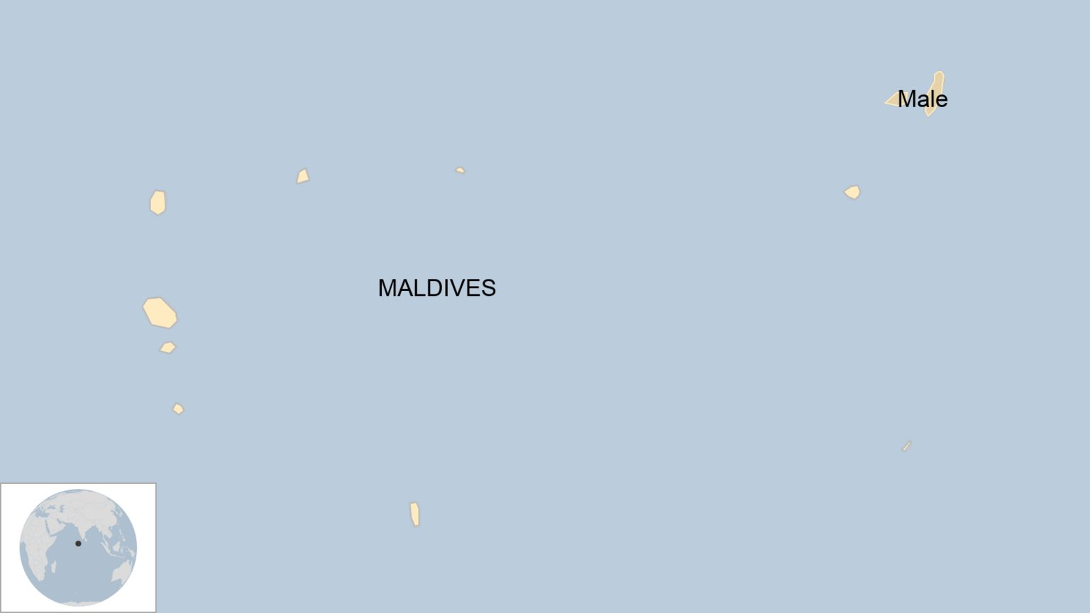 A map showing where Male is in the Maldives