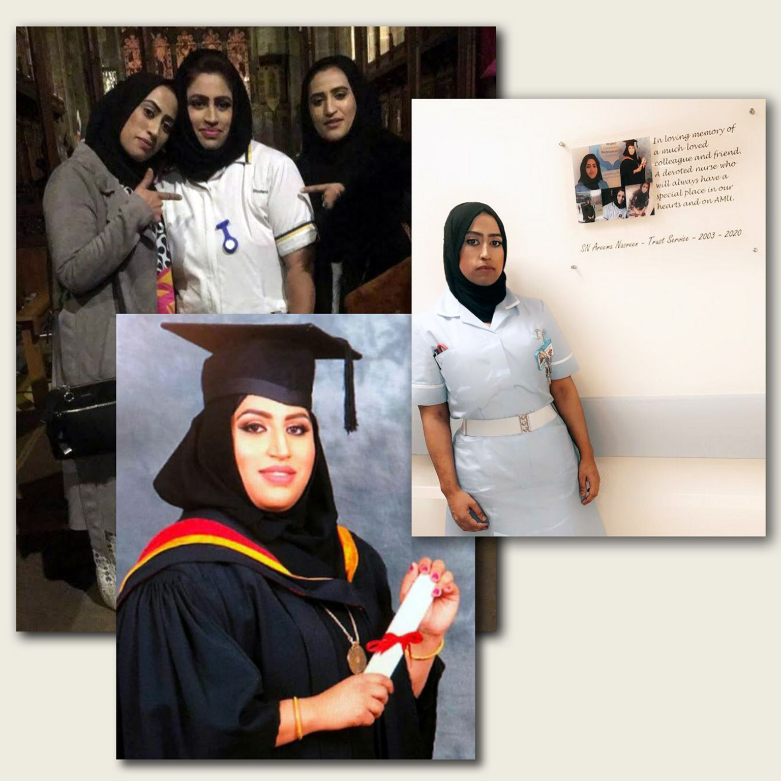 Areema Nasreen with her sisters and at graduation, and Kazeema Afzal (r)