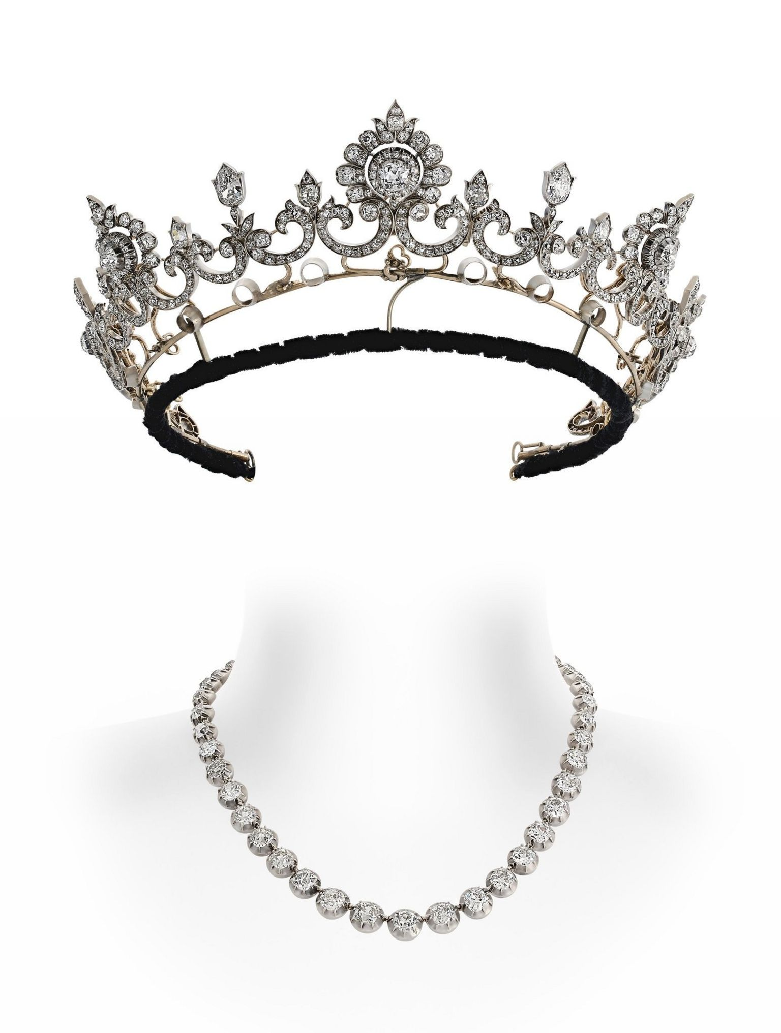 Anglesey Tiara with diamond row detached as necklace