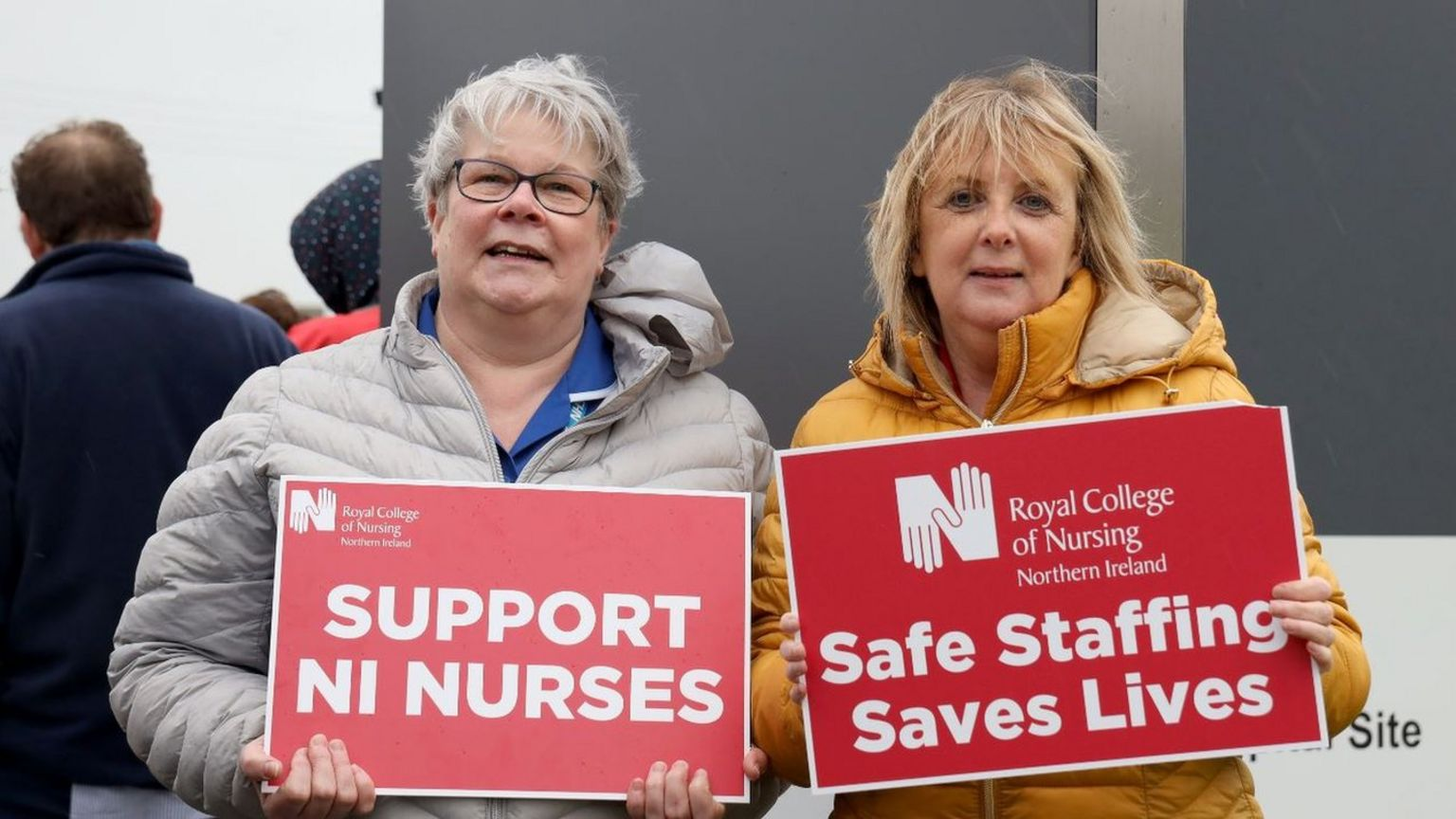 Two nurses on the picket line at the Ulster Hospital