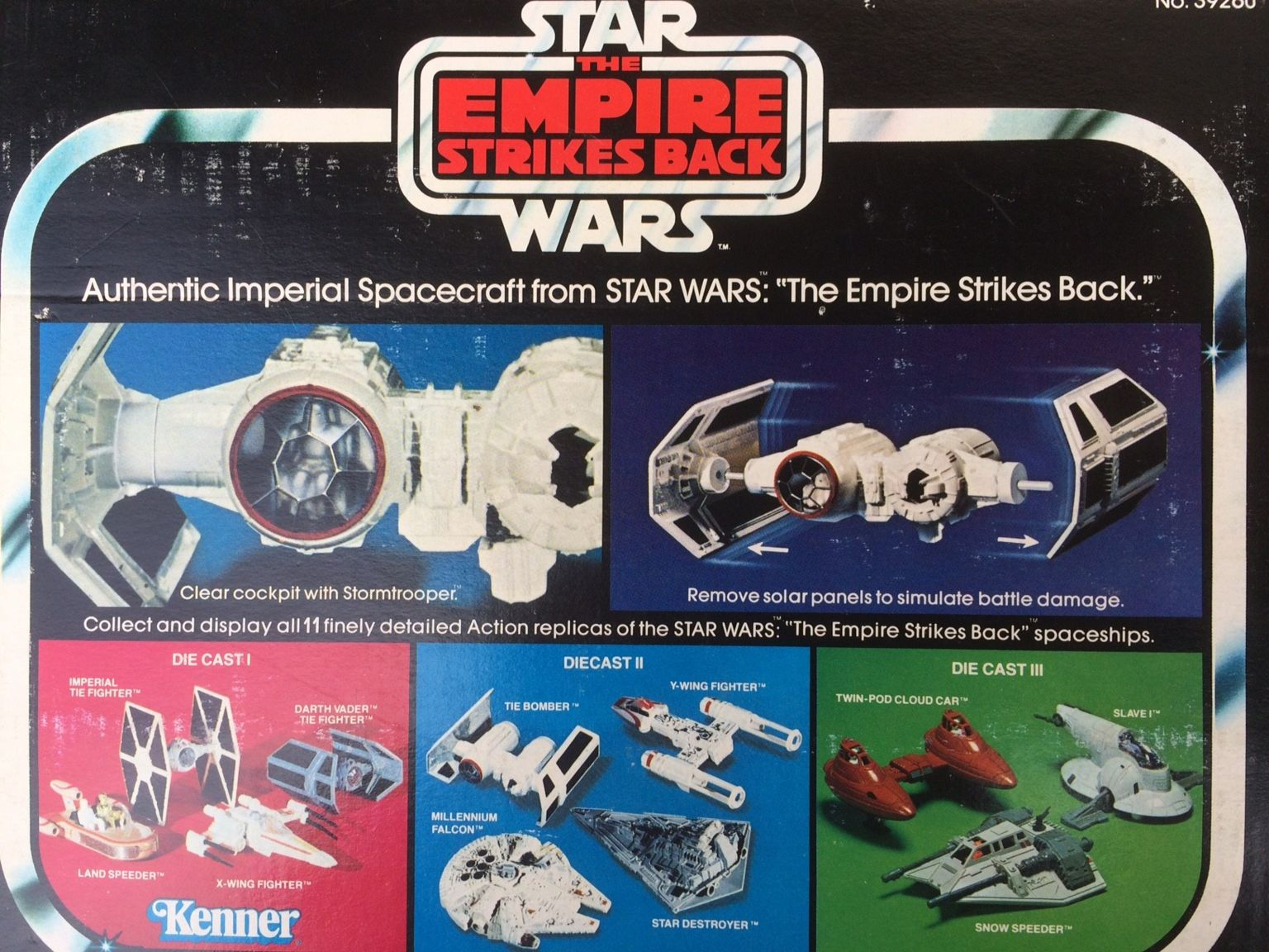 Back of the box of the authentic imperial spacecraft toy