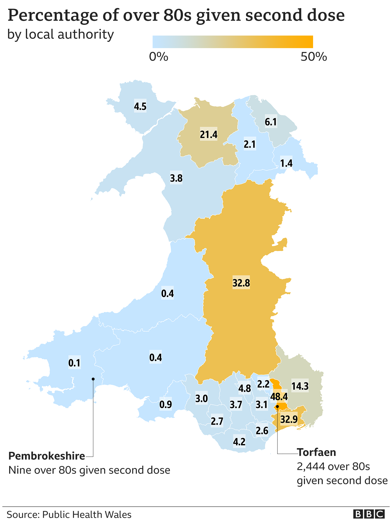 map showing percentage of 0ver-80s who have received a second dose