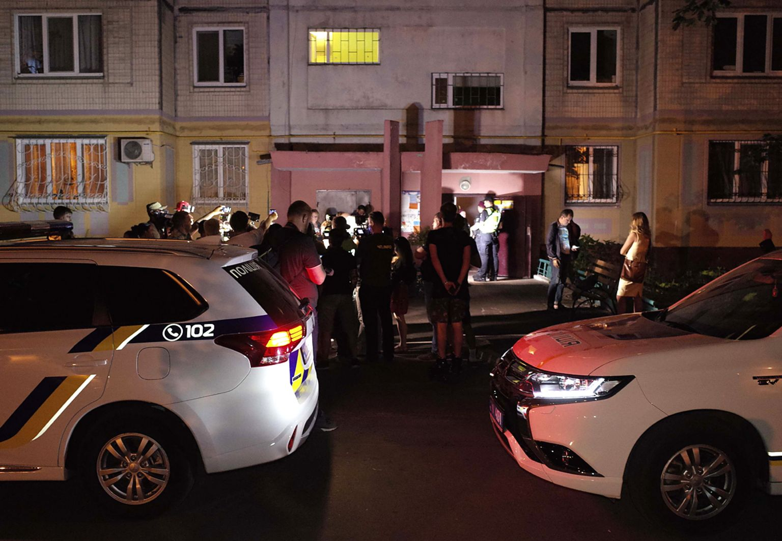 Outside the Babchenkos' apartment