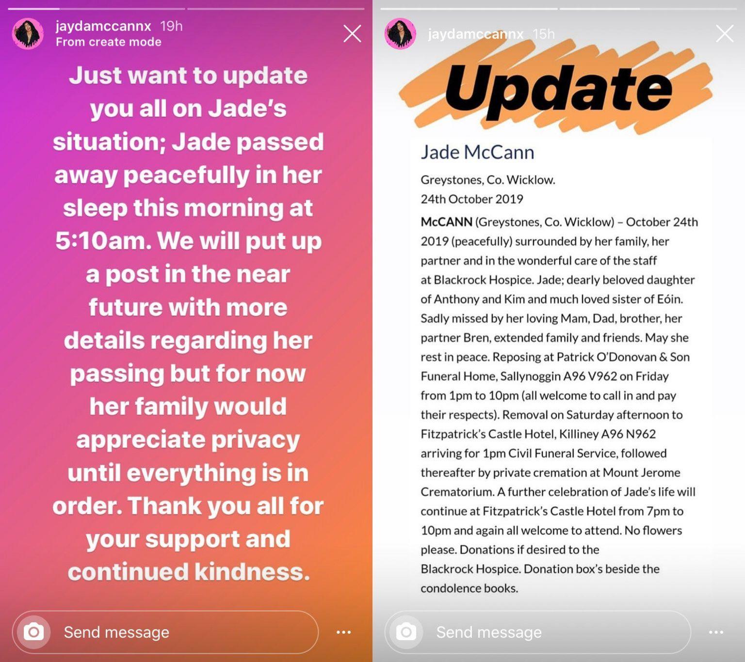 Jayda McCann Instagram story