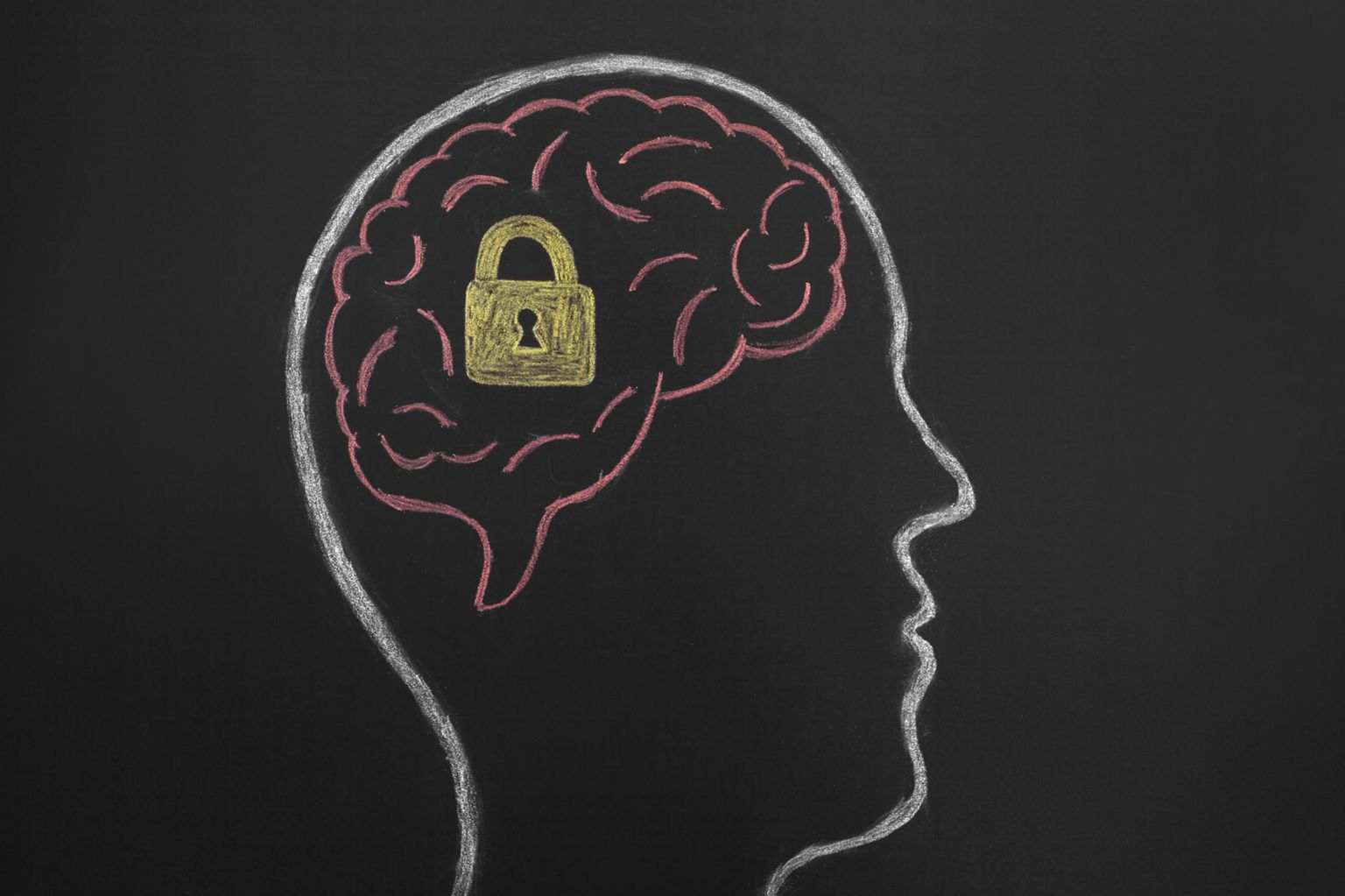 picture of head and brain inside, with padlock drawn on brain