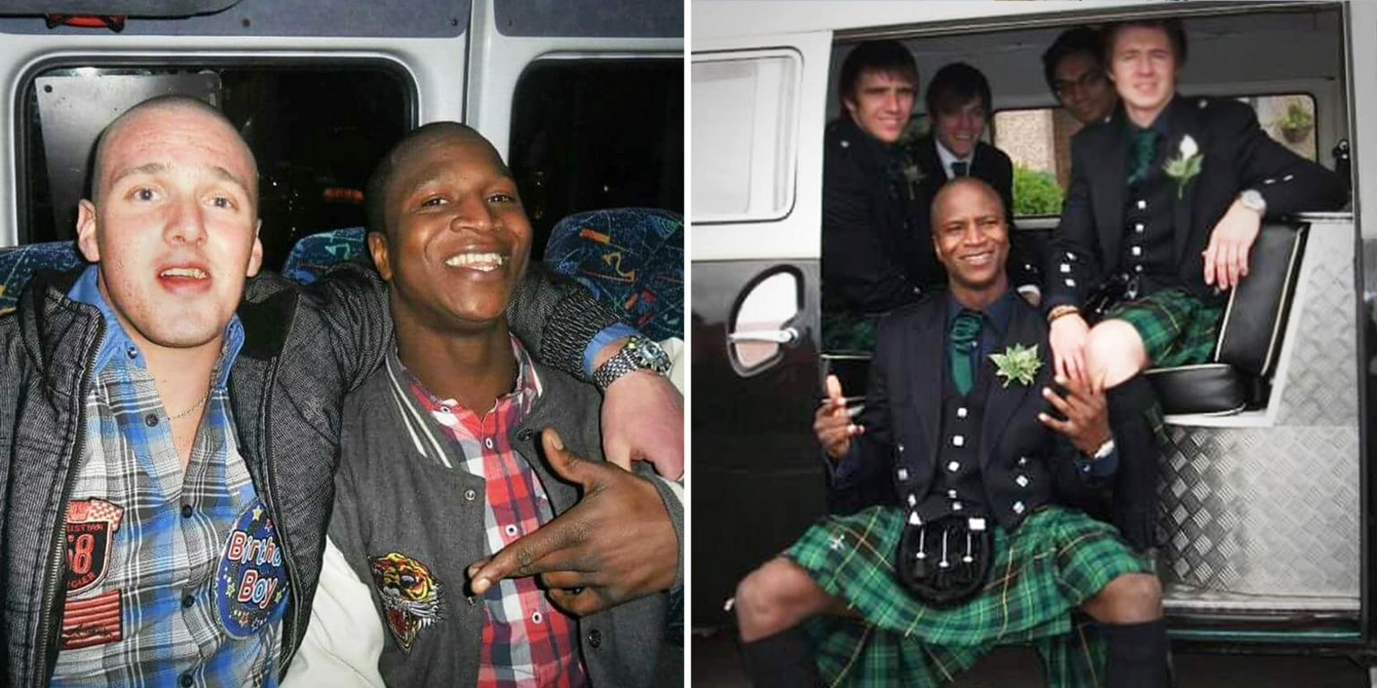 Sheku Bayoh with his friend Martyn Dick - and with others at a wedding