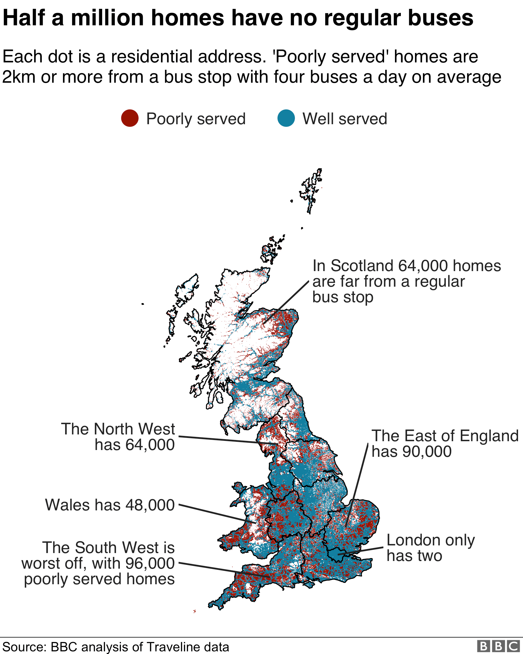 Map showing areas where houses are not served by a regular bus