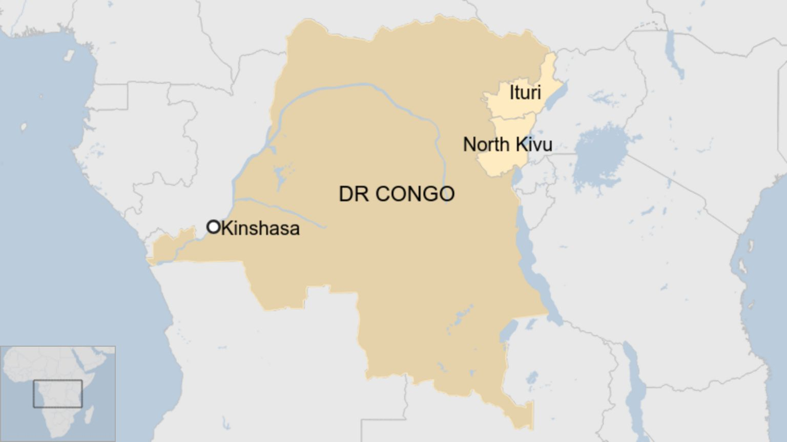 Map showing DR Congo