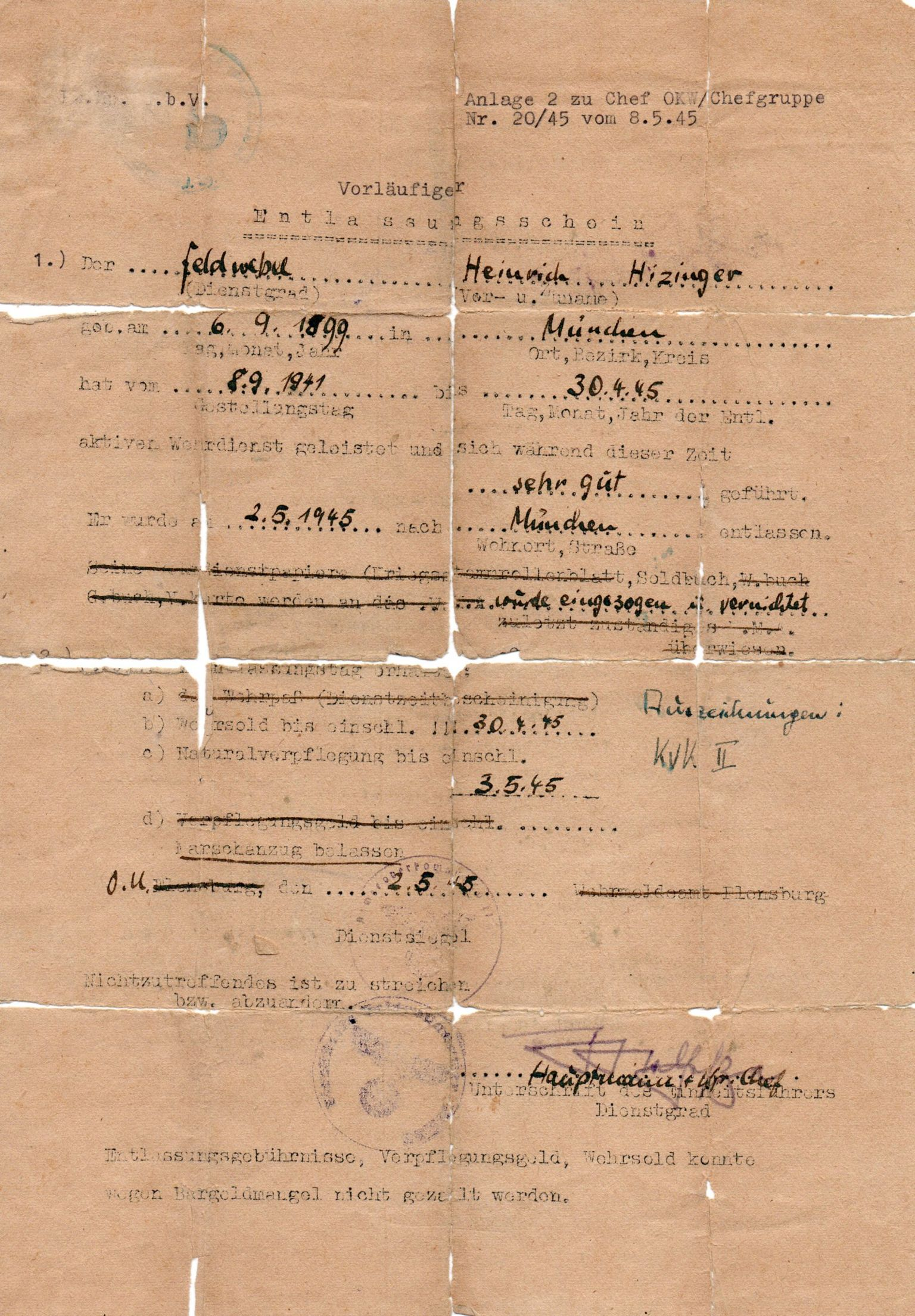 Himmler's documents, complete with false name and stamp