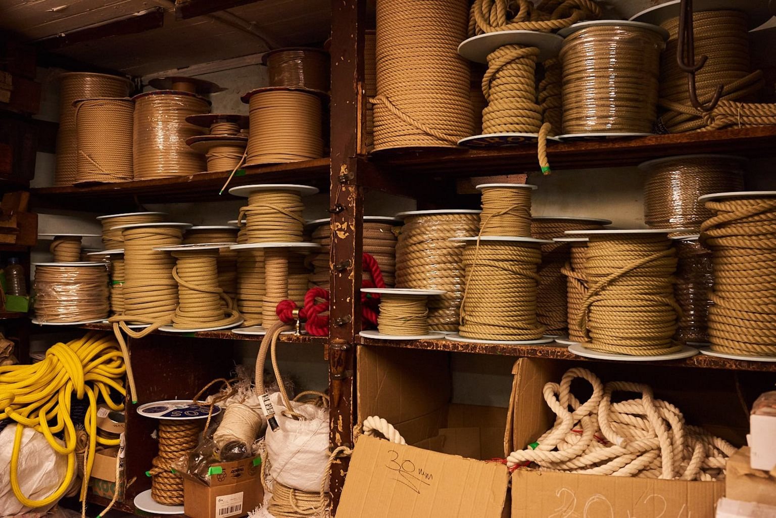 Reels of rope stacked up