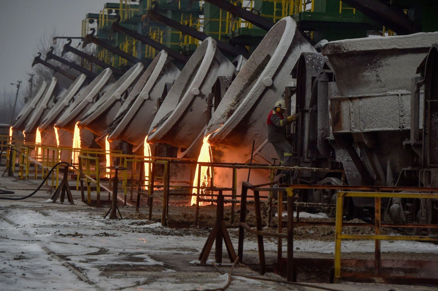 Pouring molten steel at the Liberty plant in Ostrava, Czech Republic