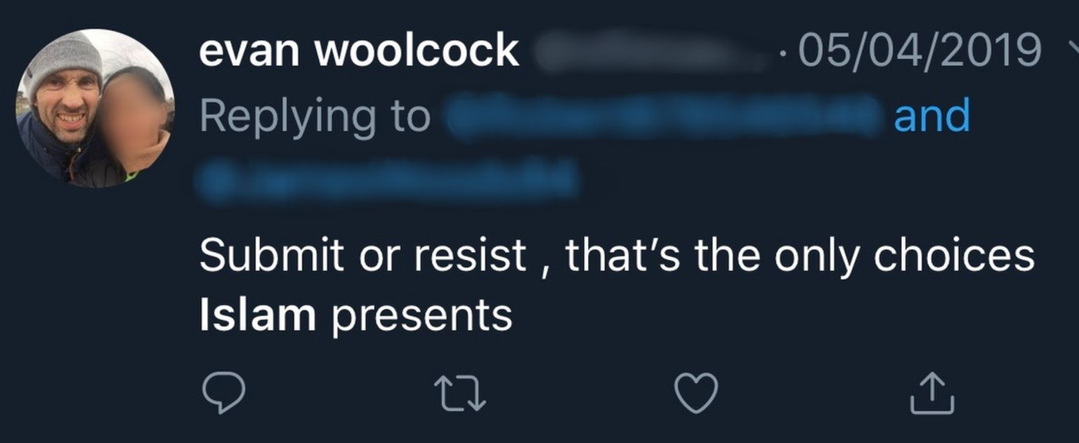 Evan Woolcock tweeting about Islam