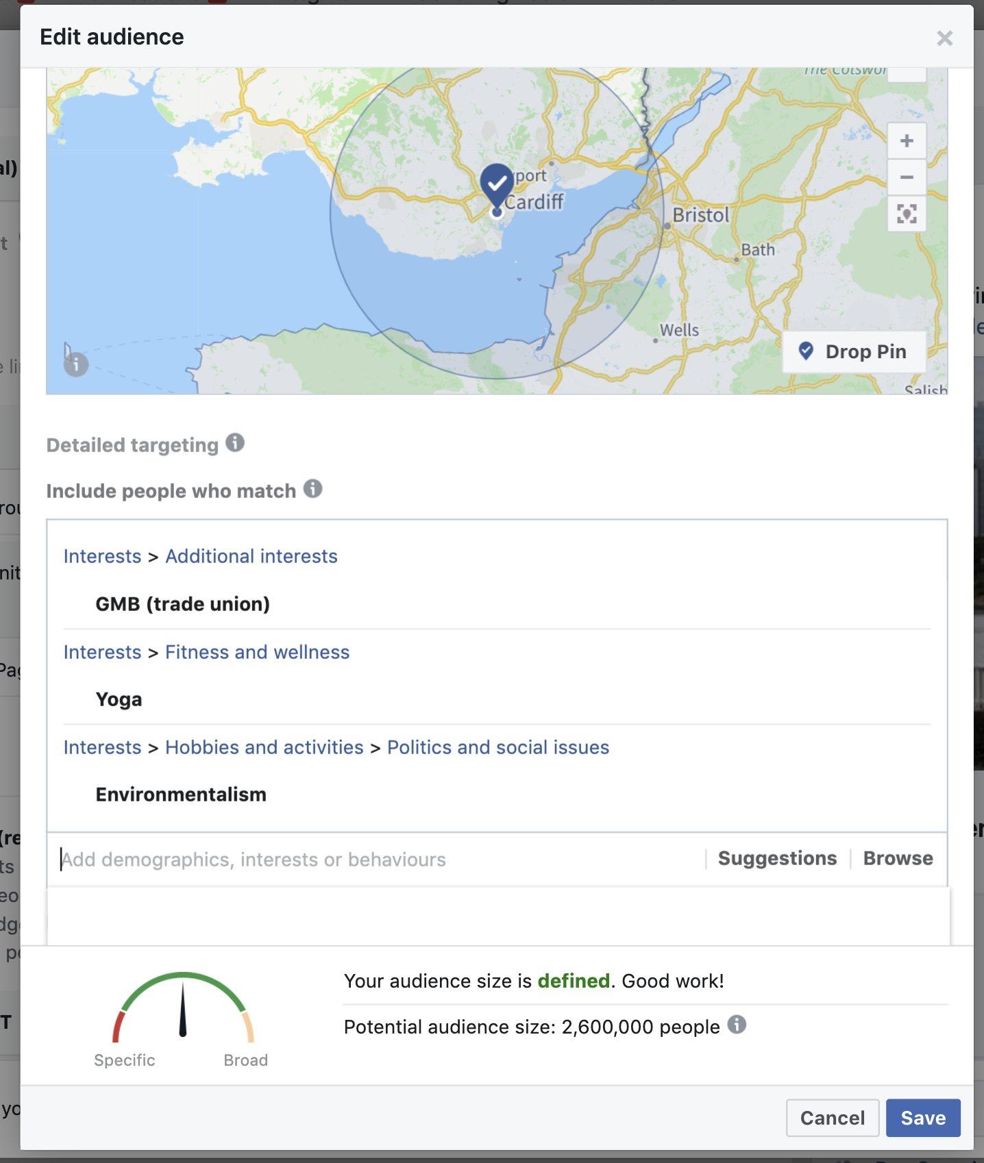 Facebook targeting data