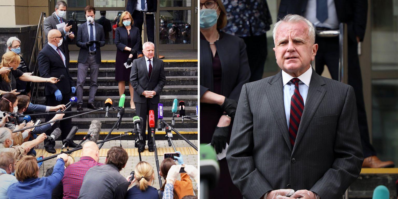 US Ambassador John Sullivan outside court after Paul Whelan's sentencing