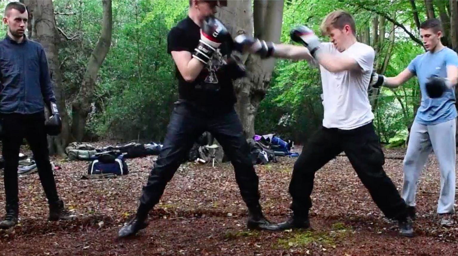 Hannam (in white) sparring with Oskar Dunn-Koczorowski, watched by National Action co-founder Alex Davies in the blue shirt.