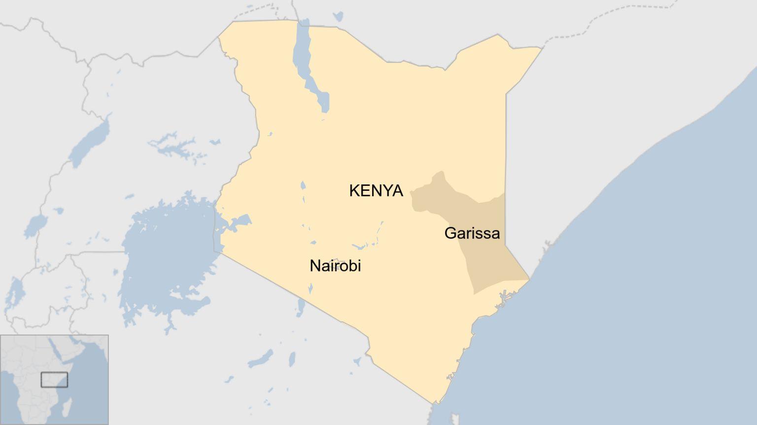 Map showing Garissa County in Kenya