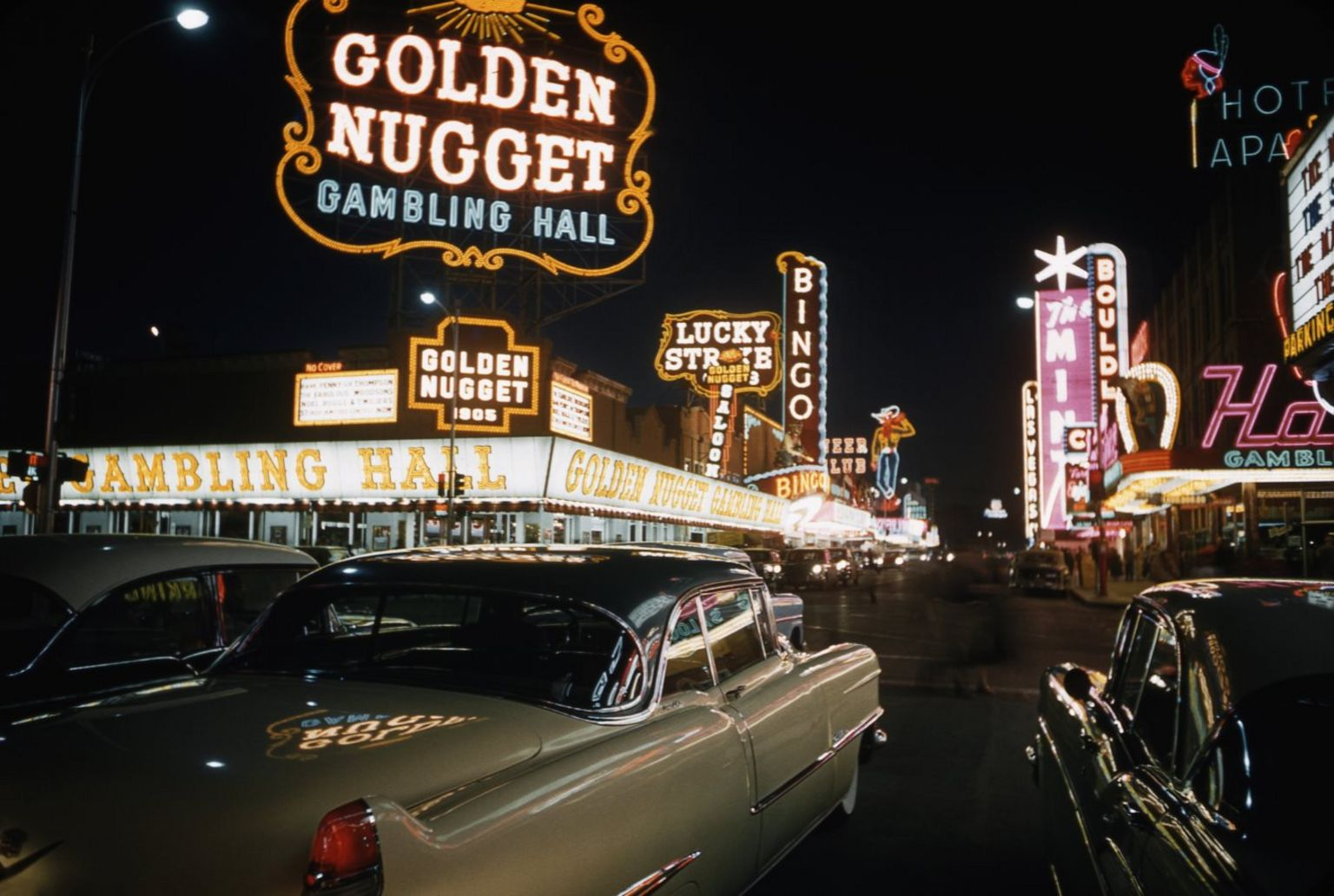 Archive image shows a view of Fremont Street, historic Las Vegas, in 1958