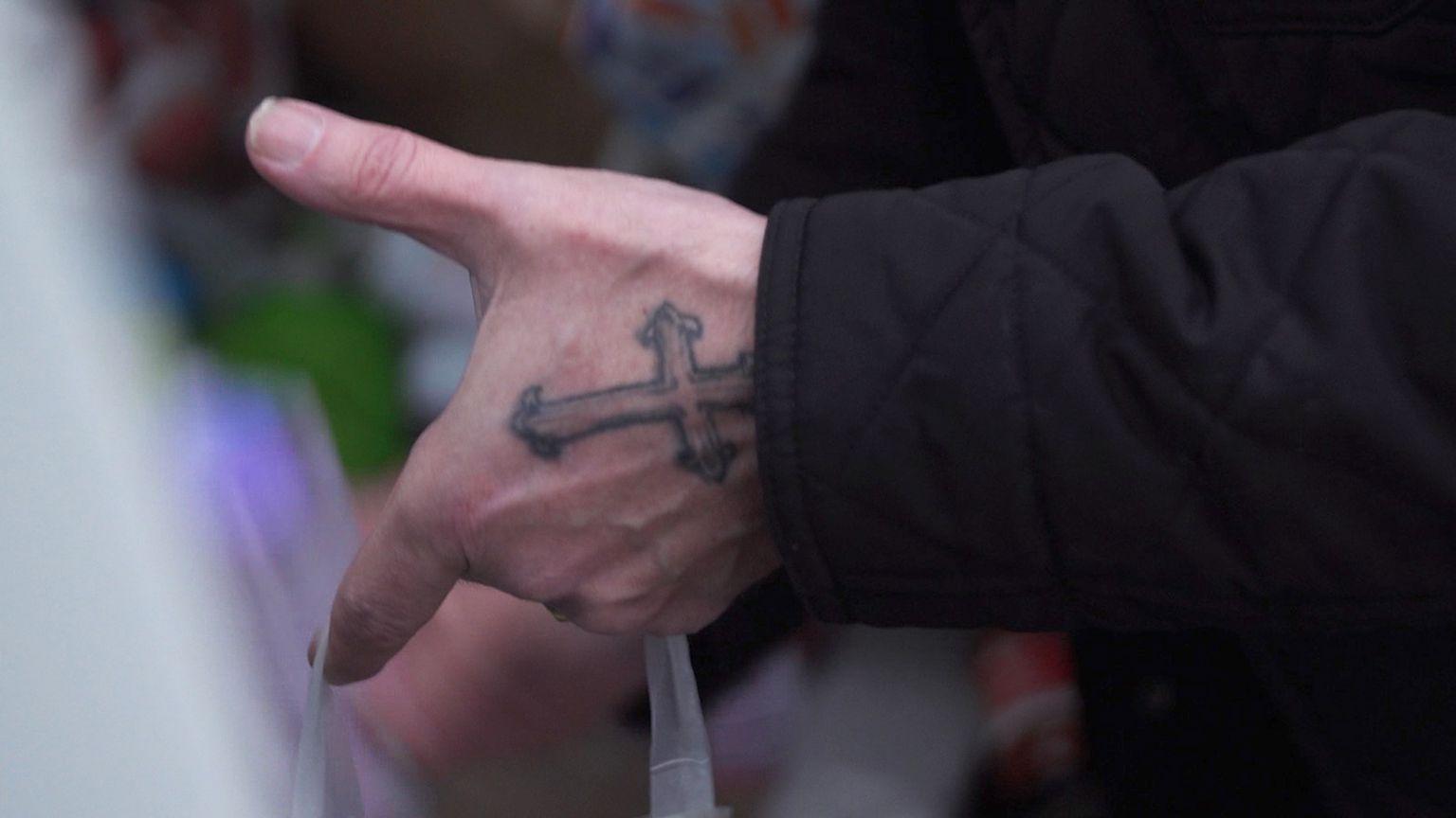 Pastor Mick Fleming's cross tattoo