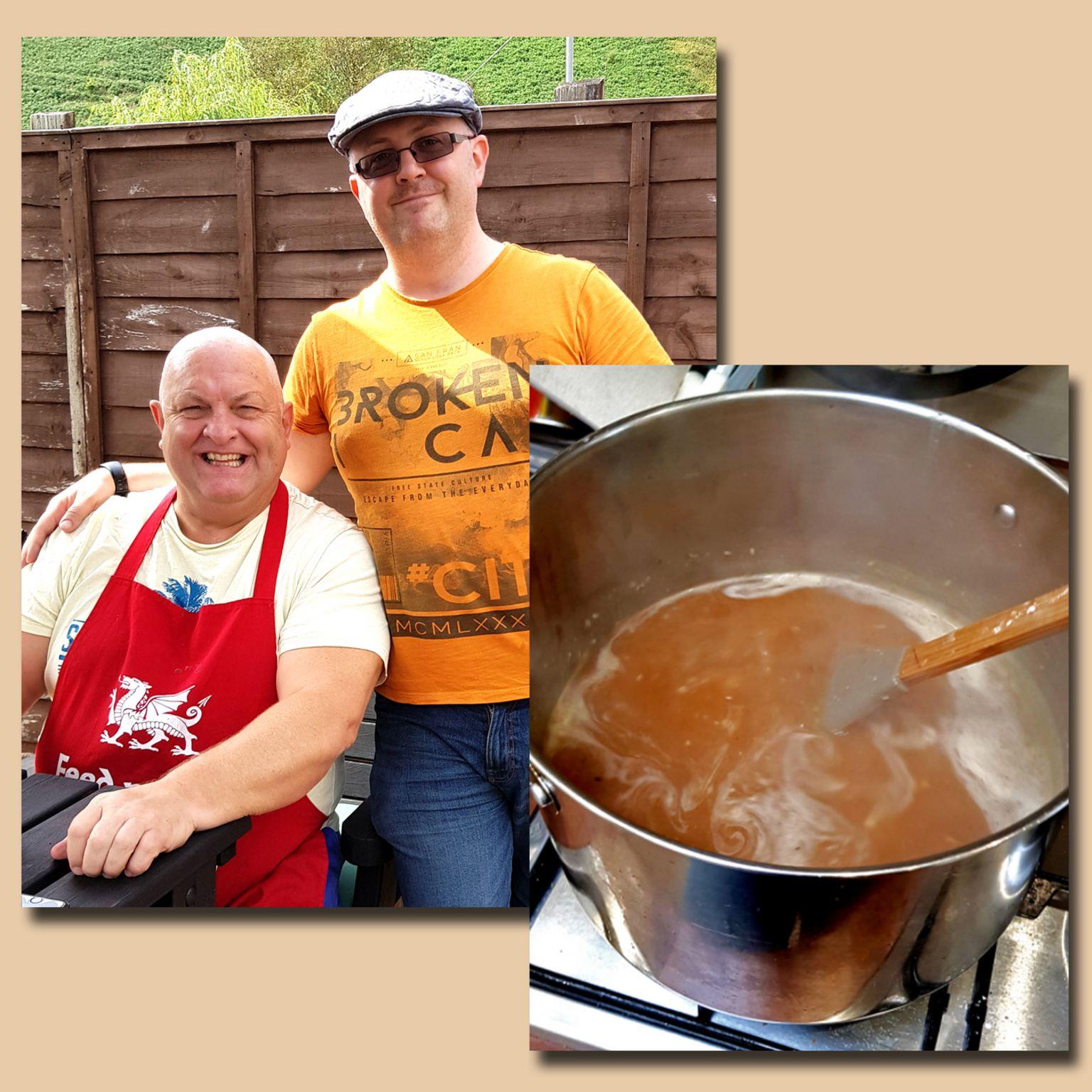 Peter and Dean Burnett, and a saucepan of Dean's gravy