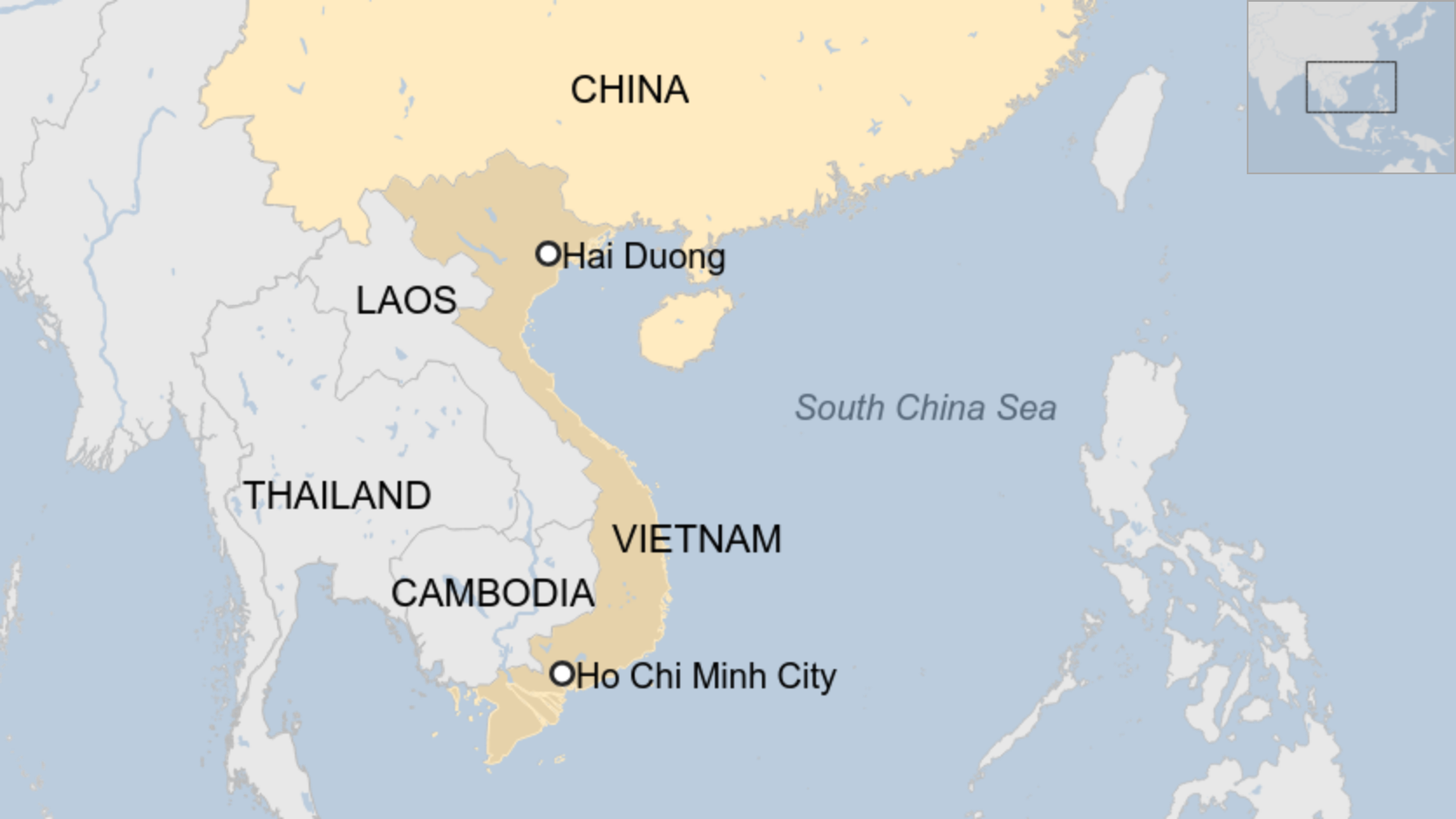 Map of Vietnam and China