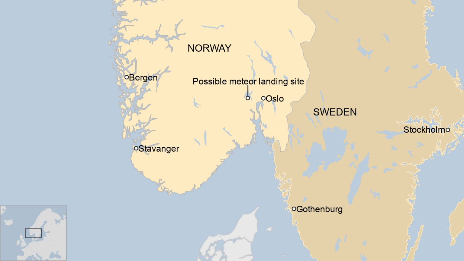 A BBC map showing the possible landing site of the meteor