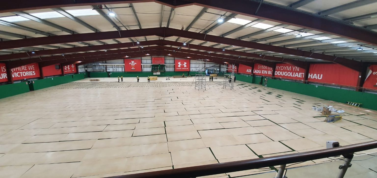 Work to turn the rugby training facility at Hensol into a field hospital