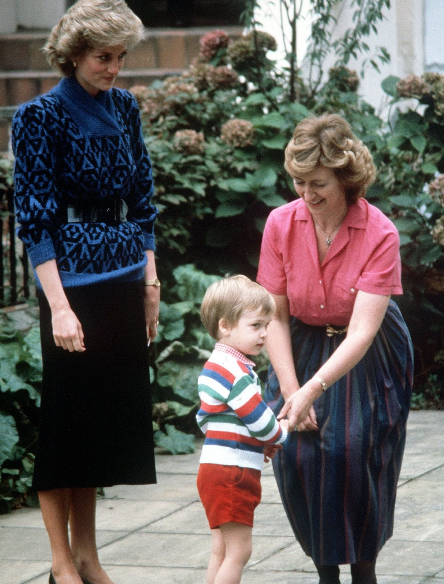 A young Prince William on his first day at nursery school in London