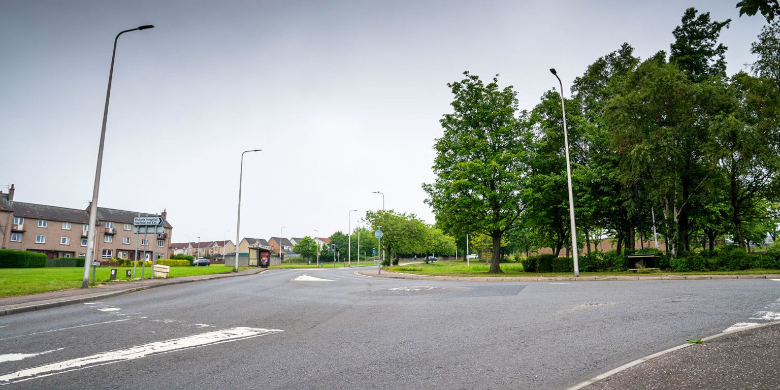 The junction of Hendry Road and Hayfield Road in Kirkcaldy, where Sheku Bayoh was restrained