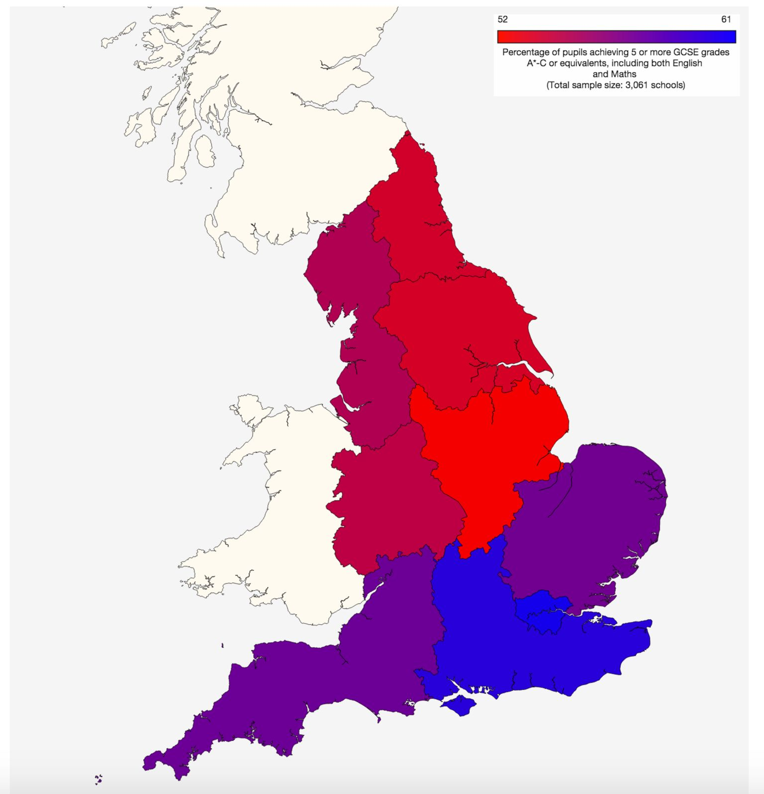 GCSE results north south divide