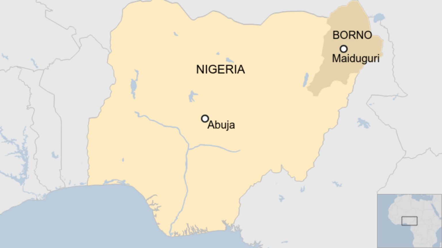 Map showing location of Borno