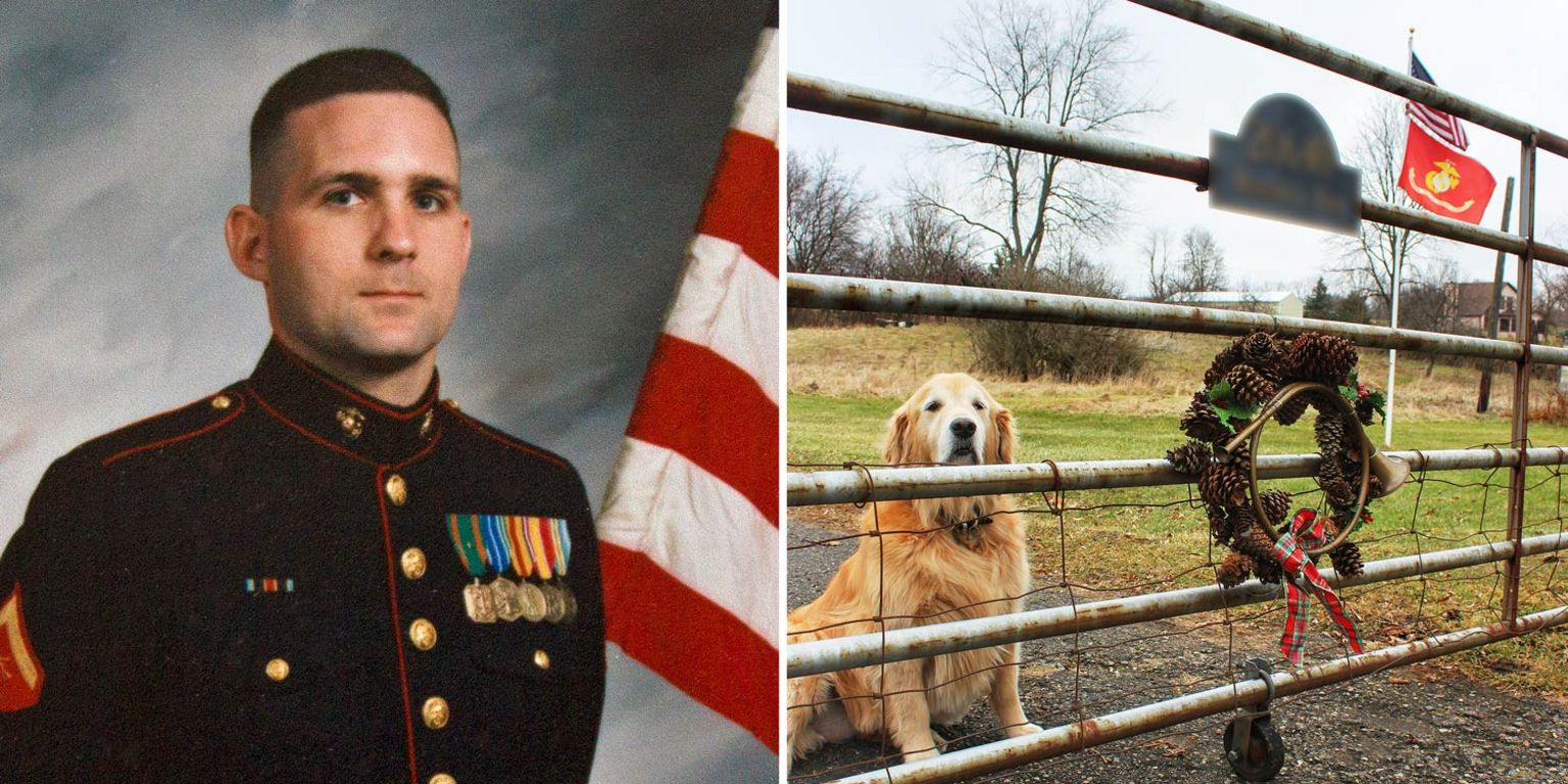 Paul Whelan as a US marine and the front gate at his parents' property