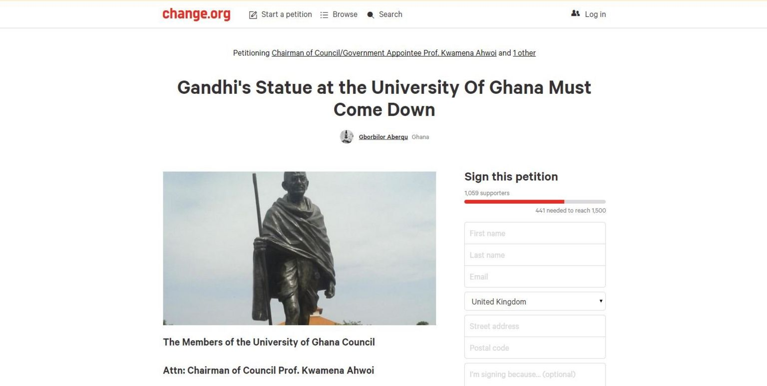 Petition Gandhi's Statue at the University Of Ghana Must Come Down