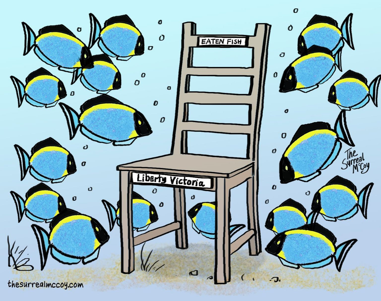 Cartoon showing fishes around an empty chair