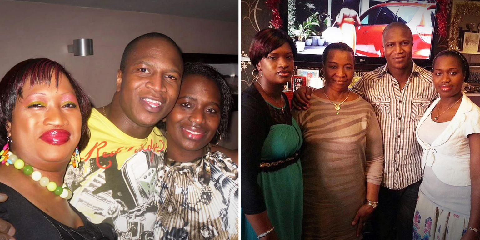 Sheku Bayoh with his sisters and mother