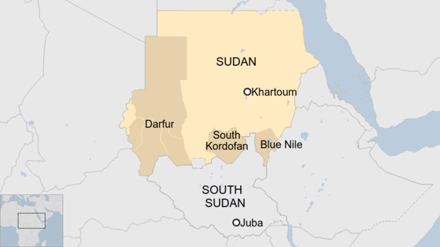 Map of Sudan showing Darfur, South Kordofan and Blue Nile